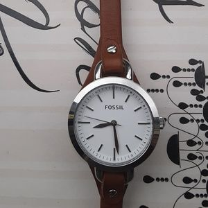 Fossil Genuine Leather & Stainless Steel Watch